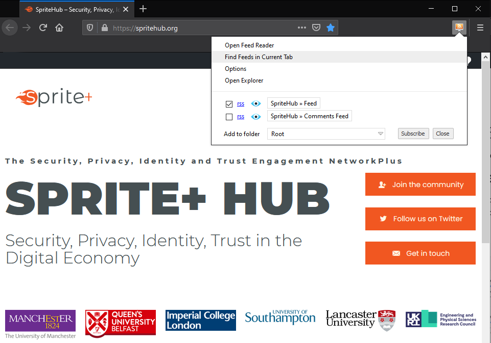 spritehub-find-rss-feed